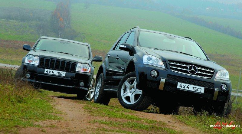 За 5 с. до 100 км/ч - Jeep Cherokee SRT 8 и Mercedes ML 63 AMG