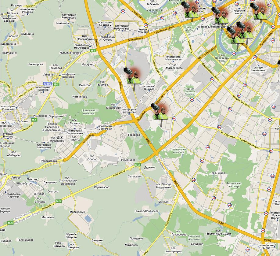 Все засады ГАИ в Москве. Карта