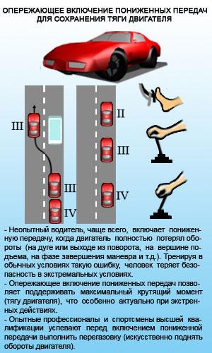Опережающее включение пониженных передач для сохранения тяги двигателя