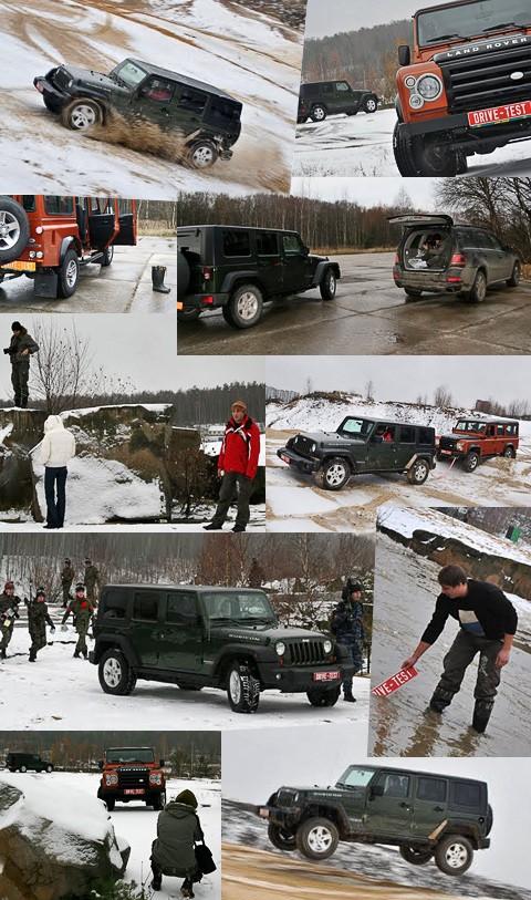 Сталкиваем в грязь Land Rover Defender и Jeep Wrangler