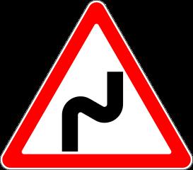 Знак 1.12.1 Опасные повороты с первым поворотом направо
