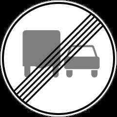 Знак 3.23 Конец зоны запрещения обгона грузовым автомобилям