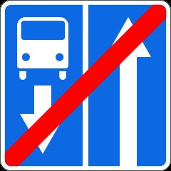 Знак 5.12.1 Конец дороги с полосой для маршрутных транспортных средств