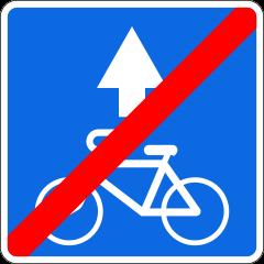 Знак 5.14.3 Конец полосы для велосипедистов