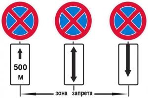 Зона действия знака «Остановка запрещена»