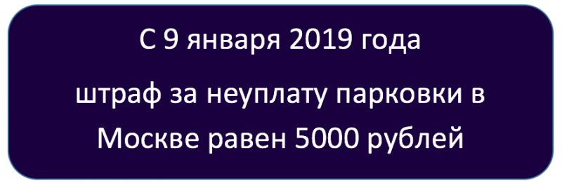 Штраф за неоплаченную парковку в Москве в 2019 году