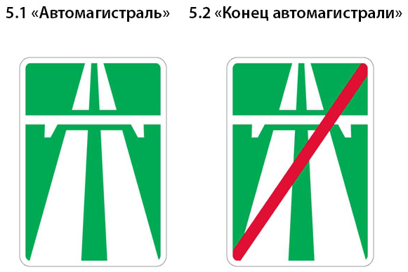 знак автомагистраль