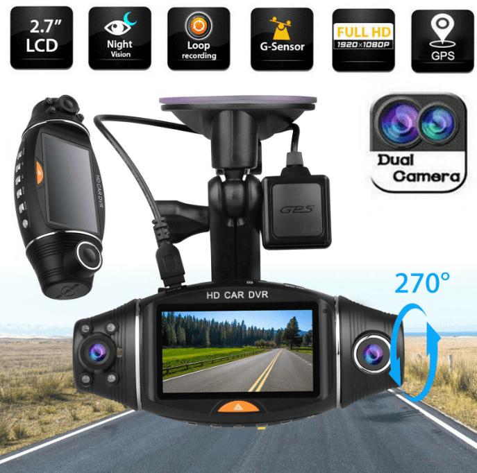 Автомобильный видеорегистратор с двумя объективами, Full HD
